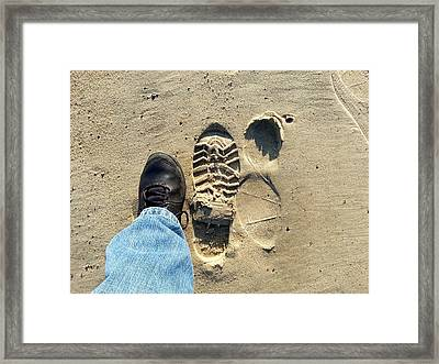 Beach Of Big Feet Framed Print by Lon Casler Bixby