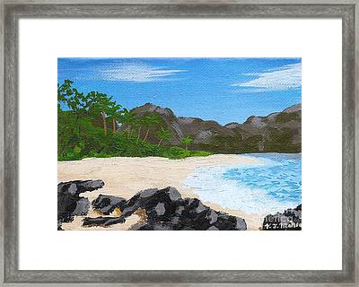 Beach On Helicopter Island Framed Print by Vicki Maheu