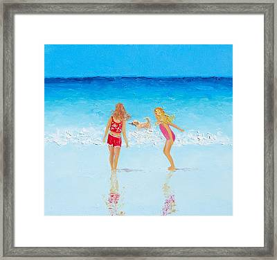 Beach Painting Beach Play Framed Print