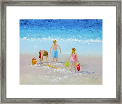 Beach Painting - Sandcastles Framed Print