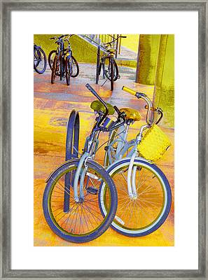 Beach Parking For Bikes Framed Print by Ben and Raisa Gertsberg