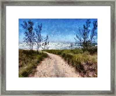 Beach Path Framed Print by Michelle Calkins