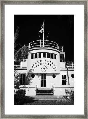 Beach Patrol Headquarters In Art Deco District Of Miami South Beach Florida Usa Framed Print by Joe Fox
