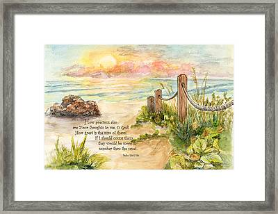 Beach Post Sunrise Psalm 139 Framed Print