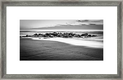 Beach Rocks Sky Framed Print