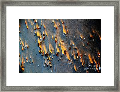Beach Sand On Sunset Framed Print