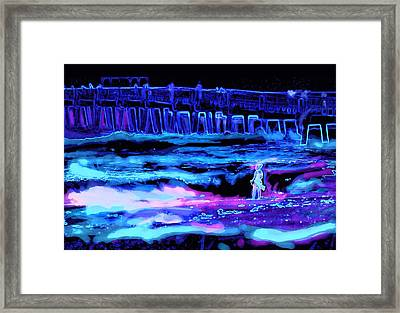 Beach Scene At Night Framed Print by David Mckinney