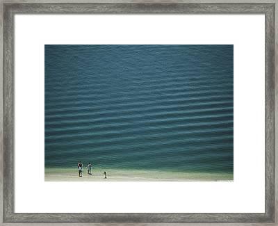Beach Scene - Four People On Beach Framed Print by Andy Mars