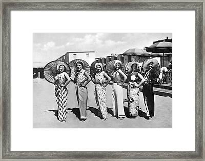 Beach Scene In Holland Framed Print by Underwood Archives