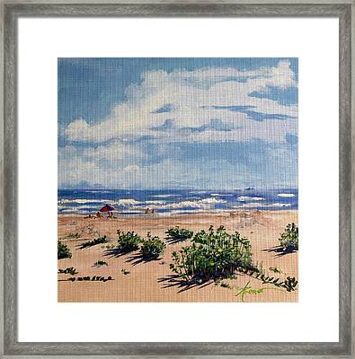 Beach Scene On Galveston Island Framed Print