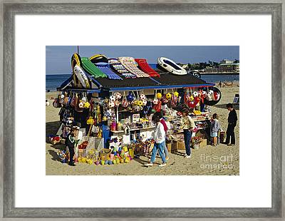 Beach Scene Weymouth Uk 80s Framed Print by David Davies