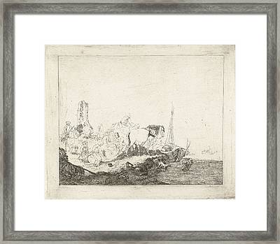 Beach Scene With Man And Dog In Water, Joannes Bemme Framed Print