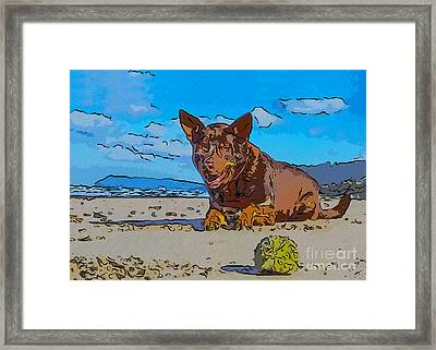 Beach Scout Abstract Dog Art By Omaste Witkowski Framed Print