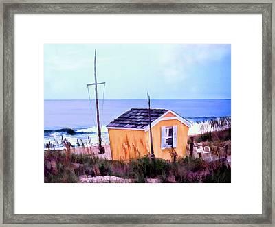 Beach Shack At Nags Head Framed Print
