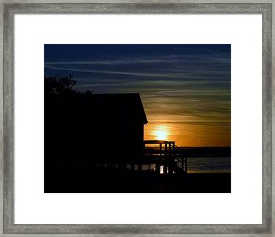 Beach Shack Silhouette Framed Print