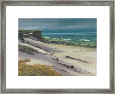 Framed Print featuring the painting Beach Shadows by Jeanette French