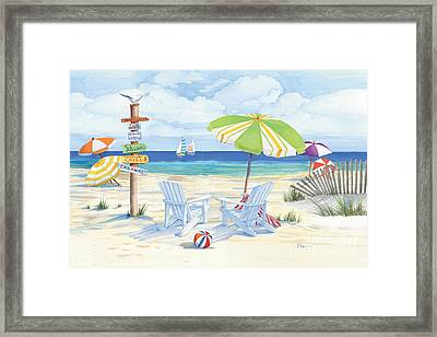 Beach Signs Adirondack Chairs Framed Print by Paul Brent