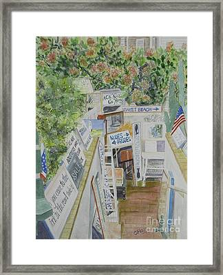 Framed Print featuring the painting Beach Signs by Carol Flagg