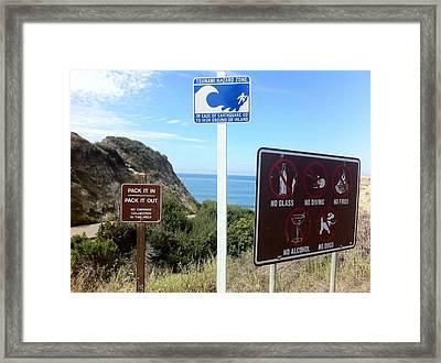 Beach Signs San Clemente Framed Print
