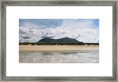 Beach Sky And Mountains Framed Print by Rebecca Harman