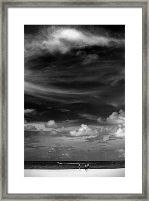 Framed Print featuring the photograph Beach Sky People by Christopher McKenzie