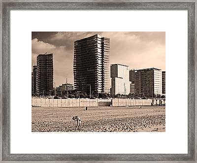 beach, Barcelona Framed Print