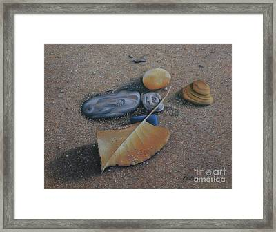Framed Print featuring the painting Beach Still Life IIi by Pamela Clements
