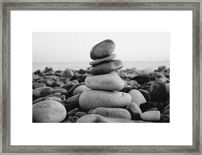 Beach Stones - 3 Framed Print by Jane M