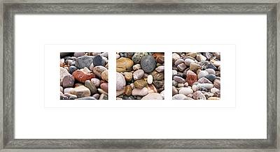 Beach Stones Triptych Framed Print by Stelios Kleanthous