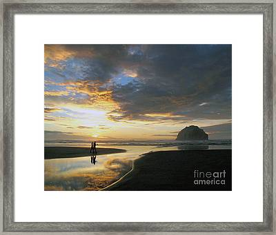 Bandon Beach Stroll Framed Print