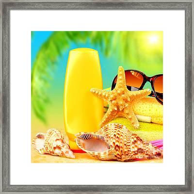 Beach Stuff Framed Print by Anna Om