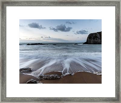 Beach Sunrise Landscape With Long Exposure Waves Movement Framed Print by Matthew Gibson
