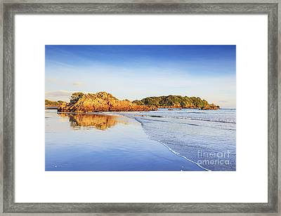 Beach Sunrise Mount Maunganui New Zealand Framed Print by Colin and Linda McKie