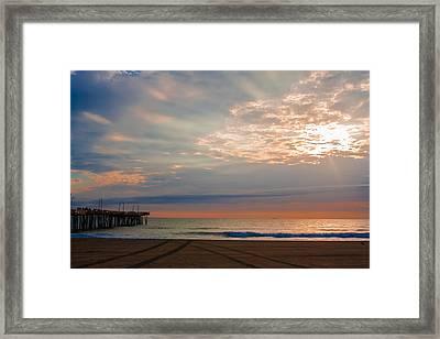 Beach Sunrise Surprise Framed Print by Dawn Romine