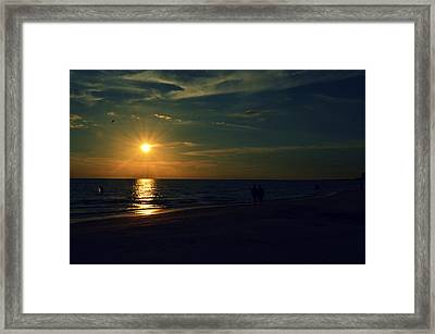 Beach Sunset Afternoon Walk Framed Print