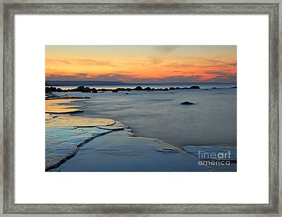 Beach Sunset Framed Print by Charline Xia