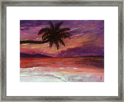 Framed Print featuring the painting Beach Sunset by Debbie Baker