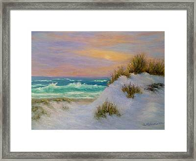 Beach Sunset Paintings Framed Print