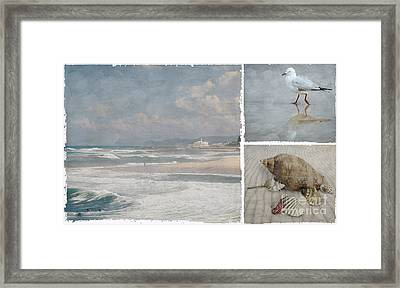 Beach Triptych 1 Framed Print by Linda Lees