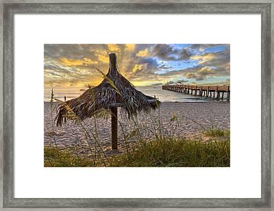 Beach Umbrella Framed Print by Debra and Dave Vanderlaan