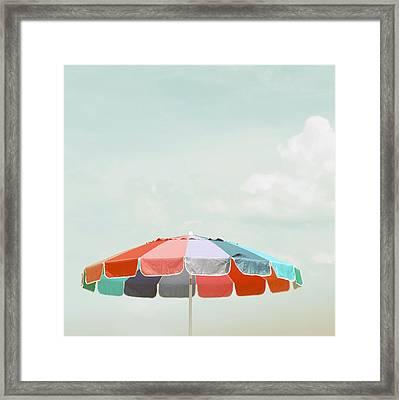 Beach Umbrella Framed Print by Elle Moss