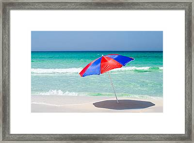 Beach Umbrella Framed Print by Shelby  Young