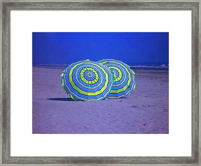 Beach Umbrellas By Jan Marvin Studios Framed Print