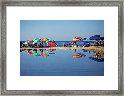 Beach Umbrellas Framed Print by Camilla Fuchs