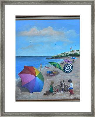 Framed Print featuring the painting Beach Umbrellas by Catherine Hamill