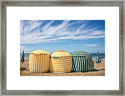 Beach Umbrellas Framed Print by Delphimages Photo Creations