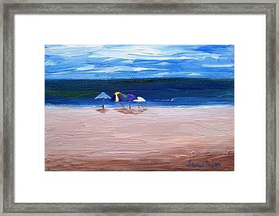 Beach Umbrellas Framed Print by Jamie Frier