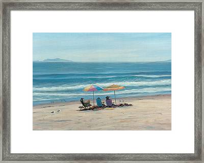 Beach Umbrellas Framed Print by Tina Obrien