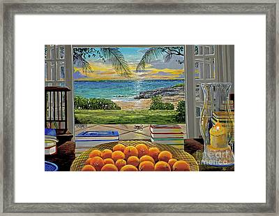 Beach View Framed Print by Carey Chen
