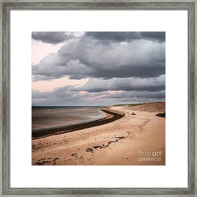Beach View With Storm Clouds Framed Print by Elena Elisseeva